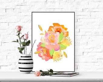 Floral printable art Floral print decor Nursery floral wall art Nursery printable gift Floral printable wall art Watercolor floral nursery