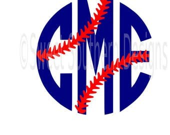 Baseball stitches laces monogram frame SVG DXF instant download design for circuit or silhouette