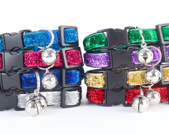 Glitter Velvet Cat Collars. Cat or Kitten Safety Collar with Quick Release Buckle and Removable Bell - Red, Green, Blue Cat Collars