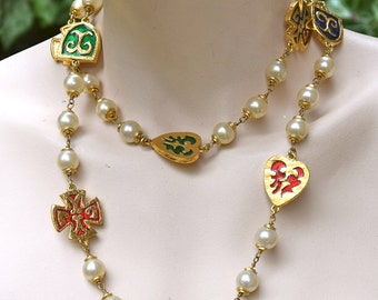 YVES SAINT LAURENT 1980 Pearls and Blasons Sautoir