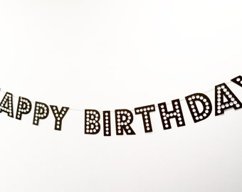 Happy Birthday Banner in Marquee style font, order in any color glitter of your choice.