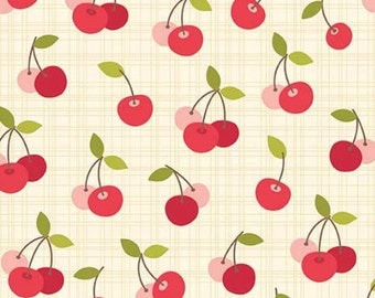 By The HALF YARD - Farm Girl by October Afternoon for Riley Blake, #C5024 Cherry Pie Cream, Red & Pink Cherries on a Tonal Cream Crosshatch