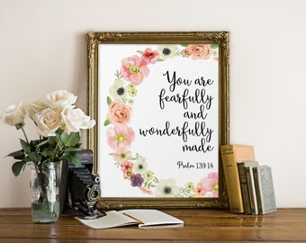 Bible Verse Print, You Are Fearfully And Wonderfully Made, Nursery Decor, Bible Quote, Scripture Print, Watercolor Flowers, Christian Art