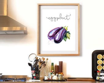 Kitchen Decor Eggplant Cook Printable Food Painting Restaurant Decor Kitchen Wall