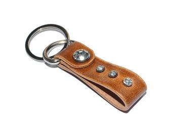 Walnut Leather Keychain / Leather Key Holder, Leather Wristlet Keychain / Key Ring, Leather Key Fob, Mens Keychain, Leather Key Chain