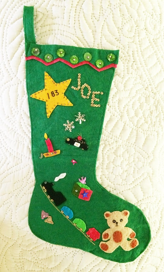 Vintage Christmas Stockings Vintage Appliqu Christmas