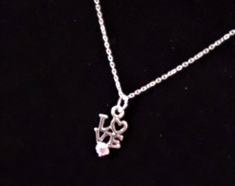 Love Necklace in Sterling Silver with Pink Cubic Zirconia