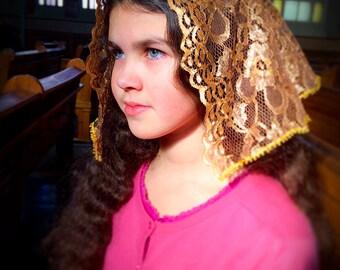 Golden Catholic Mantilla / Vintage Lace Veil / Catholic Chapel Veil / Latin Mass / Church Veil / Modest Headcovering / Mass Veil for Women