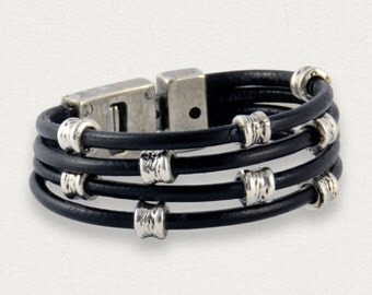 mens leather jewelry, leather wrap bracelet, gift for her, father day, wristband leather, magnetic clasp bracelet, silver beaded bacelet,