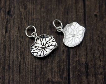 sterling silver lotus leaf charm, sterling silver lotus leaf pendant,Silver leaf pendant,lotus leaf necklace,yoga jewelry