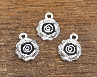 20pcs Rose Charm Antique Silver Tone 14x17mm - SH421