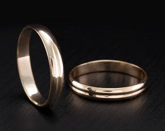 Thin wedding bands, Matching gold wedding rings, Band set cheap, Gold wedding rings, Small wedding bands, Couple rings, His her wedding ring