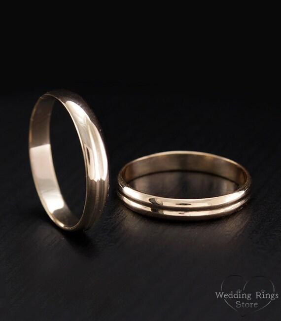 Thin wedding bands Matching gold wedding rings Band set