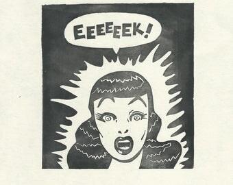 EEEEEEK! - Linocut