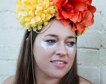 Sunny flower headband, flower crown, festival headband