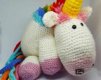 Crochet multicolored magical Unicorn.