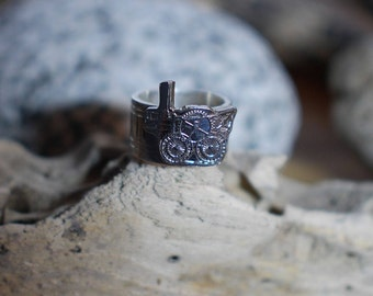 Steampunk silver ring, steam rocket ring, UK size M 1/2 ring, US size 6 1/2 ring, No. 13 size ring
