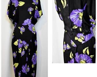 April Rain Black Violet 80s Dress