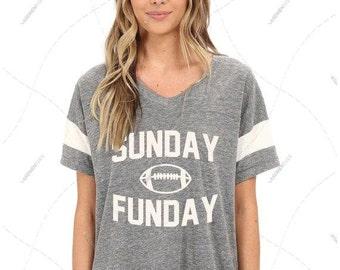 "Women - Girls - Premium Retail Fit ""Sunday Funday"" Ladies' Eco Jersey Triblend Powder Puff Fashion T-Shirt (S,M, L, XL)"