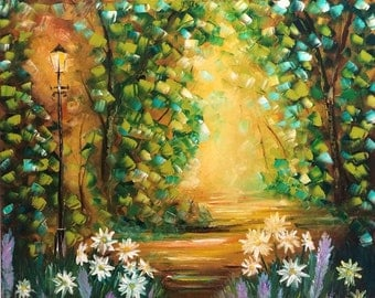 Spring in the park wall art abstract oil painting modern art living room by us artist Greg Gilreath