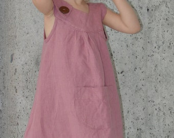 Handmade Baby Girl Tunic/Dress in a wonderful and soft natural linen fabric. Available in different sizes!