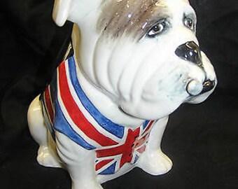 Vintage Bairstow Manor Pottery Large Union Jack British Bulldog with Cigar