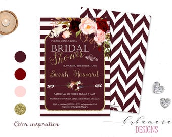 Blush Pink Marsala Burgundy Floral Digital Bridal Shower Invitation Bohemian Bridal Shower Invite Printable Chevron Back Bridal Card - BS016