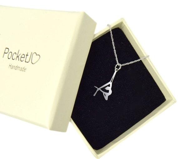 Aerial circus necklace - aerialist necklace - aerial silk necklace- aerial rope necklace - circus pendant - aerial pendant - circus birthday
