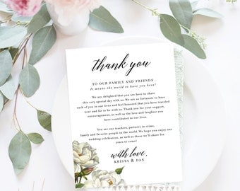 Wedding Thank You Letter / Wedding Thank You Note, Printable Thank You, Wedding Thank You - Olivia Suite