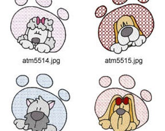 Puppy-Paws ( 7 Machine Embroidery Designs from ATW ) XYZ17C