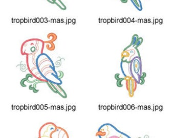 Tropical-Bird-Applique ( 10 Machine Embroidery Designs from ATW ) XYZ17E