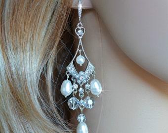 Handmade Vintage Inspired Art Deco Crystal Rhinestone and Pearl Chandelier Dangle Earrings, Bridal, Wedding (Pearl-210)