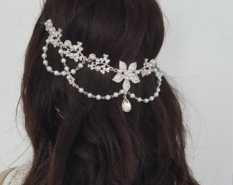 Gorgeous Flower Headpiece. Bridal Headpiece, Wedding Headdress, Crystals and Pearls Vintage Headdress, Art Deco Headpiece, Wedding Headband