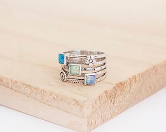 Ashwini Opal Ring, Sterling Silver, Natural Ring, Opalite Ring, Silver Ring, Organic Ring, Opal Jewelry, Opalite Jewelry, Silver Jewelry