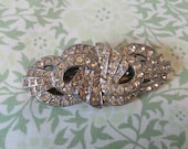 1930s Art Deco Style Paste Brooch with Security Chain Pair of Vintage Paste Dress Clips Silver Tone Diamante Shoe Clips