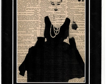 Marilyn Monroe 1950s dress art on old dictionary paper