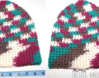 Small Crochet Beanie - Maroon/Turquoise