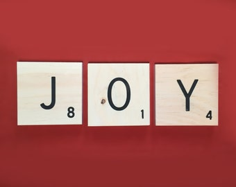 Joy sign, large engraved wooden letter tiles, joy quote, choose joy sign, engraved letter tiles, peace, love, family, rustic decor,