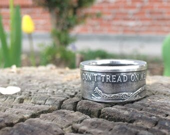 Don't Tread On Me silver coin ring