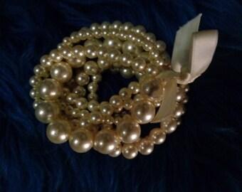 Bracelet pearls vintage/Multi-rangs/Years 90/Spectacular for woman!