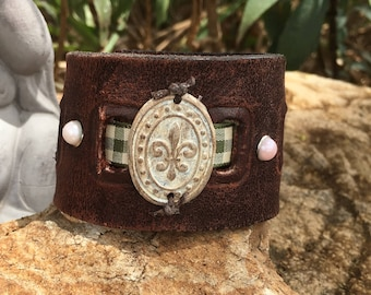 Distressed Brown Leather and Fleur De Lis Cuff