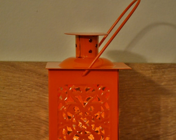 10%OFF Small vintage orange Moroccan metallic lantern/ lanterns