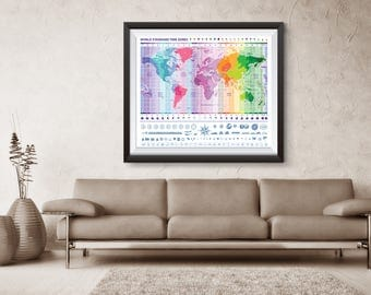 World Map, Travel, World, Map with time zone, Printable Map, World Map Wall Art, World Map Art, Travel Print, Printable World Map, Globe,WM6