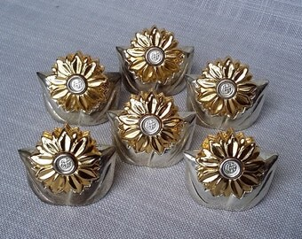 Silver Plate Flower Name Place Card Holders, Gold and Silver Plate Table Number Holder, Set of 6 Flower Shape Card Holders