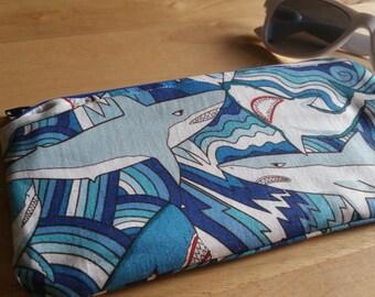 Blue Shark Zipper Pouch