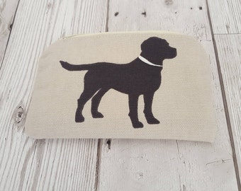 Black Labrador purse, zipped and lined, dog themed purse, rover fabric, zipper purse, coin purse