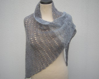 Triangle shawl hand knit scarf triangle towel kid mohair