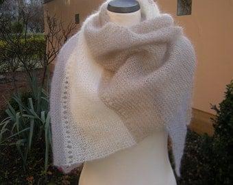 Triangle shawl hand knit scarf triangle towel kid mohair silk