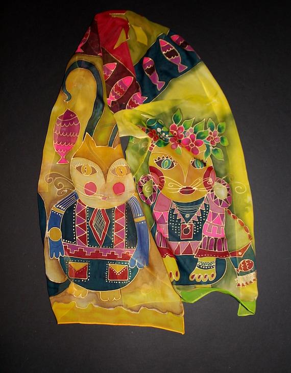 Shipping from US,Hand painted cat scarf,Cat silk scarf,Armenian gift,Armenian art,Gift for her,Batik,Etsy ASAP,Long green chiffon scarf