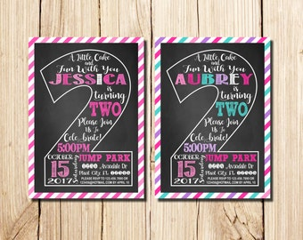 2nd Birthday Invitation Girl, Сhalkboard, Second Birthday Invitation, Girl Birthday Invitation, Pink, Purple, Birthday Chalkboard